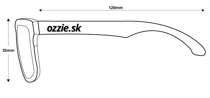 obrázok rozmerov pre polarizačné slnečné okuliare Ozzie OZ 05:06 P4 - pohľad zboku