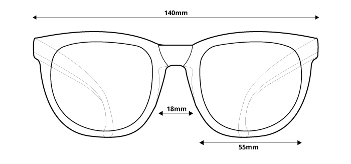 obrázok rozmerov pre polarizačné slnečné okuliare Ozzie OZ 20:91 P8 - pohľad spredu