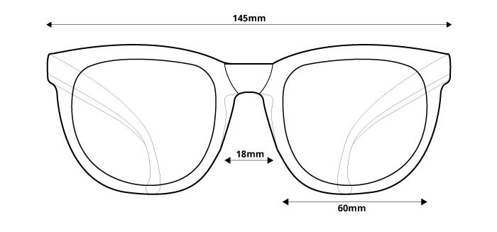 obrázok rozmerov pre polarizačné slnečné okuliare Ozzie OZ 34:41 P3 - pohľad spredu