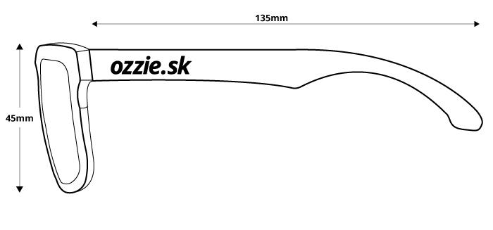 obrázok rozmerov pre polarizačné slnečné okuliare Ozzie OZ 34:41 P3 - pohľad zboku