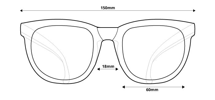 obrázok rozmerov pre polarizačné slnečné okuliare Ozzie OZ 39:58 P1 - pohľad spredu